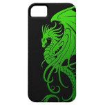 Flying Tribal Dragon - green on black iPhone 5 Case