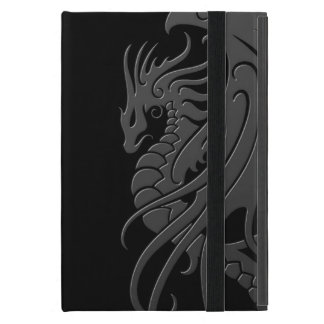 Flying Tribal Dragon - grey on black Covers For iPad Mini