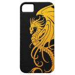 Flying Tribal Dragon - yellow on black iPhone 5 Cover