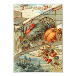 Flying Turkey Airplane Pumpkin Apple Pear Corn Card