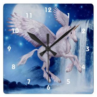 Flying Unicorn And Waterfall Fantasy Art Square Wall Clock