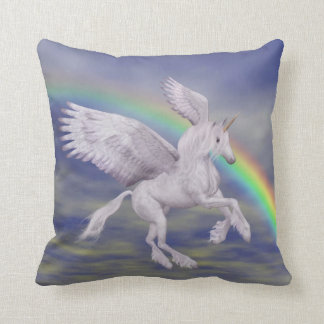 Flying Unicorn Rainbow Fantasy American MoJo Pillo Cushion