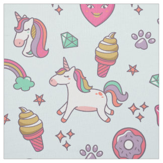 Flying Unicorns Rainbows Kawaii ID381 Fabric