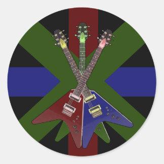 Flying V Guitar Shredder Classic Round Sticker
