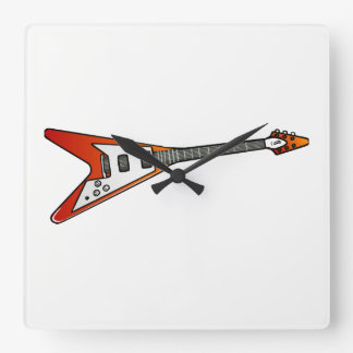 Flying V Guitar Square Wall Clock