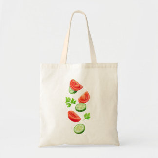 Flying vegetables tote bag