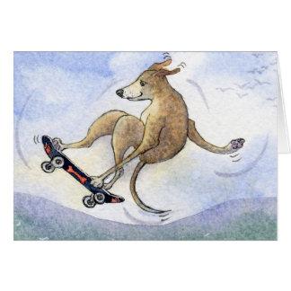 Flying whippet dog card