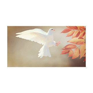 Flying white dove canvas