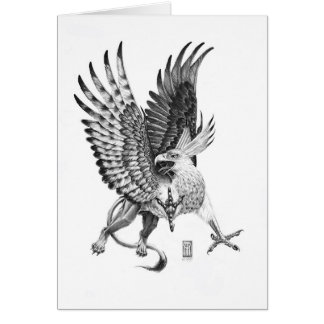 Flying White Head Griffin Illustration Card