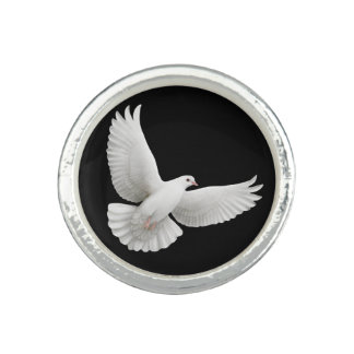 Flying White Peace Dove Ring
