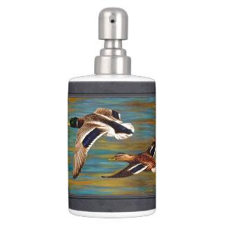 Flying Wild Ducks Charcoal Gray Bathroom Set