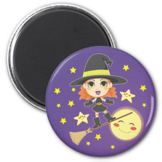 Flying Witch 6 Cm Round Magnet