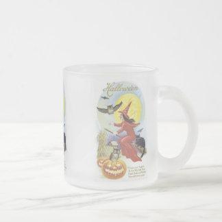 Flying Witch, Bats, Cat, Owl Moon Halloween Mug