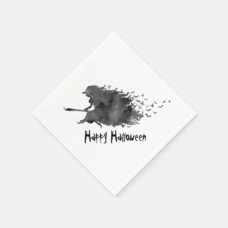 Flying Witch Halloween Paper Napkins