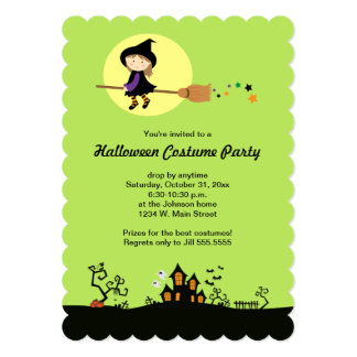 Flying Witch Halloween Party Green Invitations
