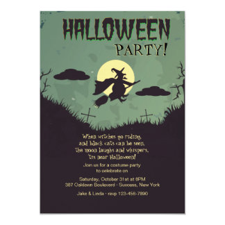 Flying Witch Halloween Party Invitation