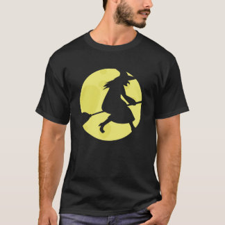 Flying Witch Haloween Black T-Shirt