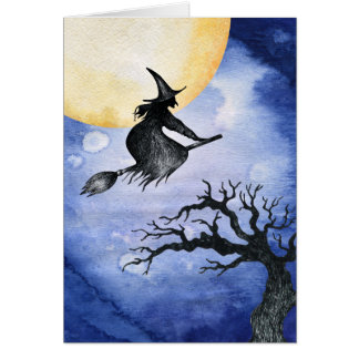 Flying Witch Happy Halloween Greeting Card
