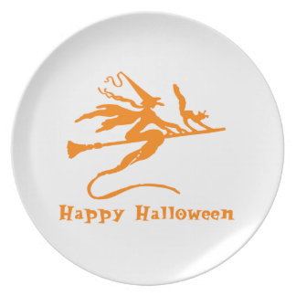 Flying Witch Happy Halloween Plate