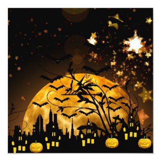 Flying Witch Harvest Moon Bats Halloween Gifts 13 Cm X 13 Cm Square Invitation Card
