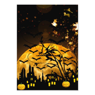 Flying Witch Harvest Moon Bats Halloween Gifts 13 Cm X 18 Cm Invitation Card