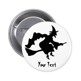 flying witch on broomstick 6 cm round badge
