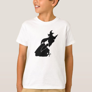 Flying Witch over House Silhouette T-Shirt