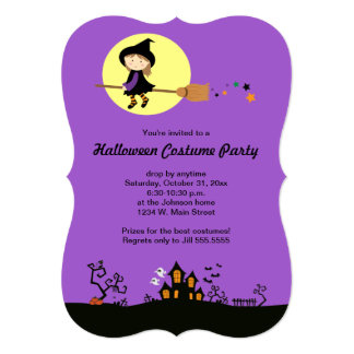 Flying Witch Purple Halloween Party Invitations
