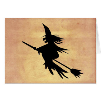 Flying Witch Shadow Faded Paper | Halloween Card