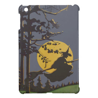 Flying Witch Silhouette Full Moon Spiderweb iPad Mini Covers