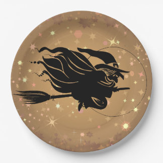 Flying Witch Silhouette Gold Starry Sky Paper Plate