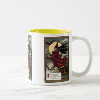 Flying Witch Vintage Halloween Mugs, Steins