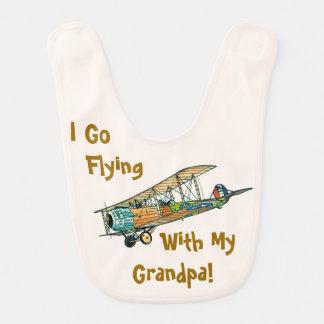 Flying With Grandpa Custom Baby Bib by Janz