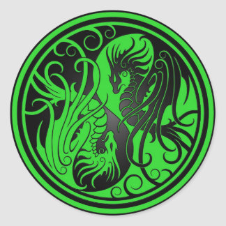 Flying Yin Yang Dragons - green and black Round Sticker