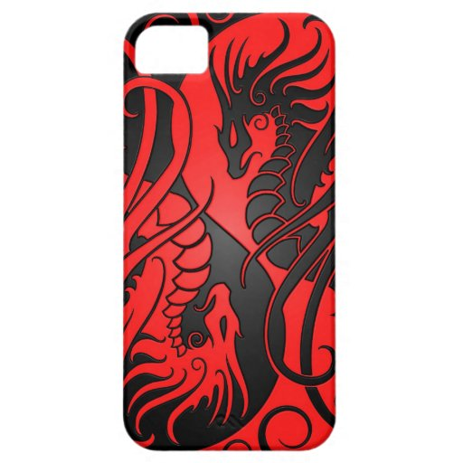 Flying Yin Yang Dragons - red and black iPhone 5 Cases