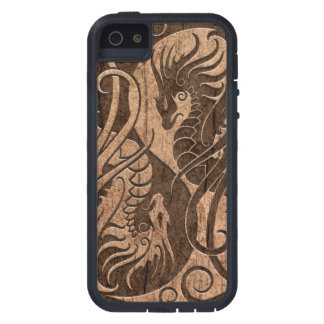 Flying Yin Yang Dragons with Wood Grain Effect iPhone 5 Cover