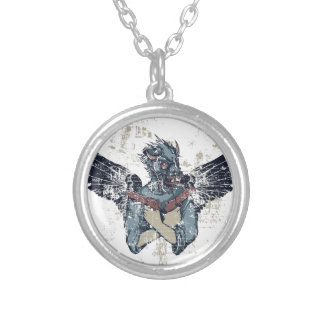 flying zombie with wings silver plated necklace