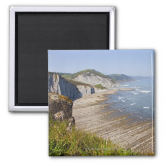 Flysch in the coast of Zumaia, Guipuzcoa, Basque Square Magnet