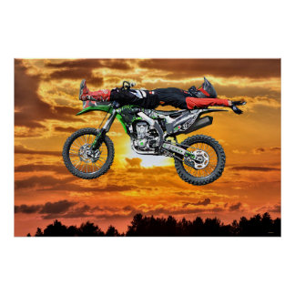 FMX Motocross Dirt-Bike Aerial Stunt and Sunset Poster