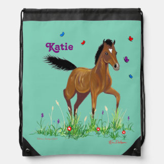 Foal and Butterflies Drawstring Pack Drawstring Bag