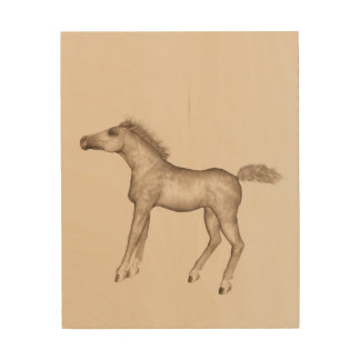 Foal dancing wood print