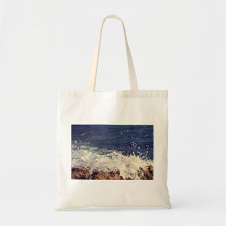 Foam Themed, Waves Of White Water Crash Against Ro Budget Tote Bag