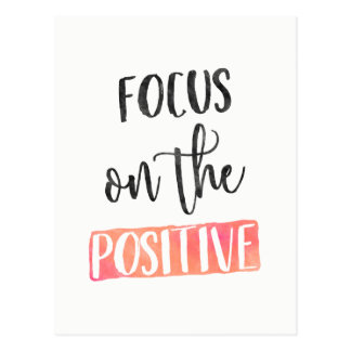 FOCUS on the POSITIVE - Typography postcard