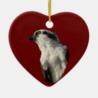 focused osprey ceramic heart decoration