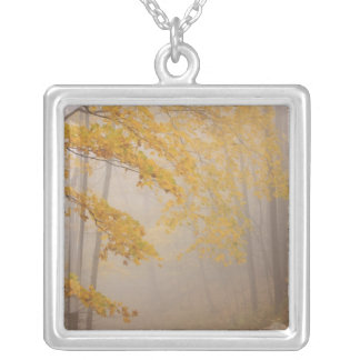 Fog and Autumn foliage, Great Smoky Mountains Square Pendant Necklace