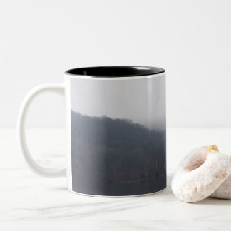 Fog at Randor Lake Two-Tone Coffee Mug