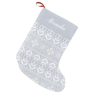 Fog Grey Nordic Sweater Pattern Personalized Small Christmas Stocking