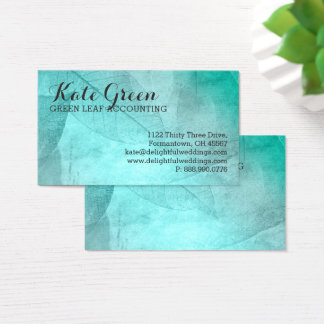 FOG Leaves Leaf Teal Professional Nature Elegant Business Card
