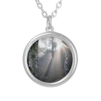 fog light forest rural landscape silver plated necklace