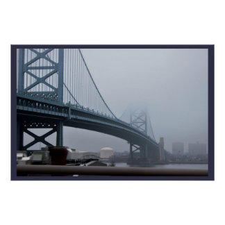 Fog over Ben Franklin Bridge Poster